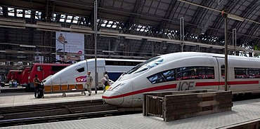 An ICE train of the Deutsche Bundesbahn German Federal Railways and a SNCF train of the French Railways standing in the Frankfurt train station, Frankfurt am Main, Hesse, Germany, Europe
