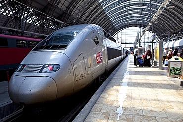 A SNCF train of the French Railways in the Frankfurt train station, Frankfurt am Main, Hesse, Germany, Europe
