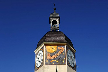 Detail of the old clock tower, 16th century, castle complex Burghausen, castle No. 48, Burghausen, Upper Bavaria, Germany, Europe