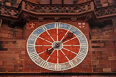 Clock tower on Freiburg Minster, Herrenstrasse 36, Freiburg im Breisgau, Baden-Wuerttemberg, Germany, Europe