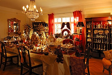 Elaborate Christmas decorations in a living room for sale, Villa & Ambiente store, Im Weller, Nuremberg, Middle Franconia, Bavaria, Germany, Europe