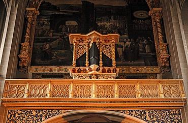 """""""Kleine"""" Orgel, """"small"""" organ, built in 1664 by Georg Reichel, in the Marienkirche church or Marktkirche """"Unser Lieben Frauen"""" Church of Our Lady, late Gothic, built 1529-1554, Marktplatz, Halle Saale, Saxony-Anhalt, Germany, Europe"""
