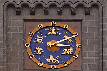 Tower clock with star signs on the tower of the former Imperial Post Office, 1874, in neo-Romanesque style, Hansering, Halle Saale, Saxony-Anhalt, Germany, Europe