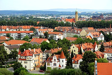 Panoramic view over the city, panoramic terrace on the Michaelsberg hill, UNESCO World Heritage Site Bamberg, Upper Franconia, Bavaria, Germany, Europe