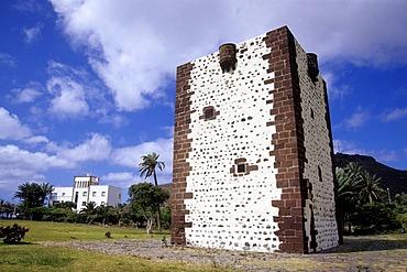 Torre del Conde, a medieval tower in the park, Parque de la Torre, San Sebastian, La Gomera, Canary Islands, Spain, Europe