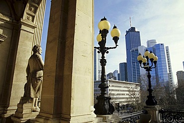 Roof terrace, Old Opera, Alte Oper, on Opernplatz Square, skyline of the financial district in the back, Frankfurt am Main, Hesse, Germany, europe