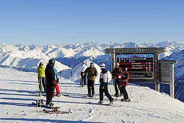 Ischgl ski area boundary, Greitspitze Mountain, Samnaun, Switzerland, Tyrol, Austria, Europe