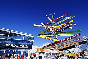 Signpost made of old skis with distances to various cities, Pardorama mountain restaurant, Ischgl ski resort, Tyrol, Austria, Europe