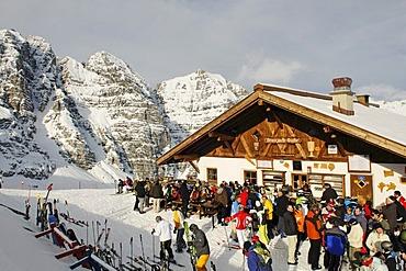 Kreuzjoch-Huette, ski lodge, Schlick 2000 ski resort, Stubai Valley, Austria, Europe