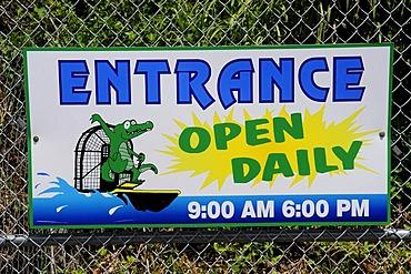 Sign, Everglades Alligator Farm, Homestead, Miami, Florida, USA