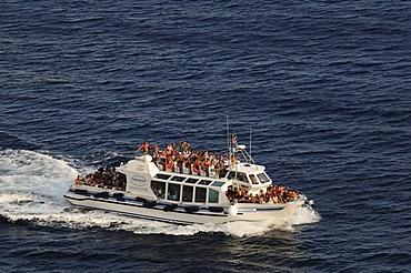Ship off Bonifacio, Corsica, France, Europe