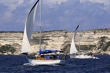 Yachts off Bonifacio, Corsica, France, Europe