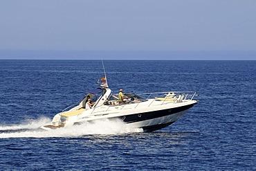 Motorboat, Ibiza, Pine Islands, Balearic Islands, Spain, Europe