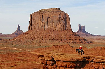 Navajo, Native American on horseback, Monument Valley, Navajo Tribal Lands, Utah