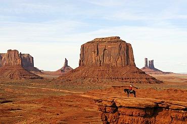 Navajo, Native American on horse, Monument Valley, Navajo Tribal Lands, Utah
