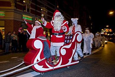 Father Christmas captures the city, Copenhagen, Denmark, Europe