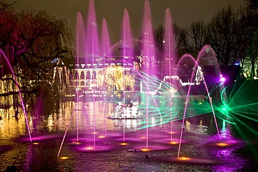 Illuminations at the Tivoli Lake, Copenhagen, Denmark, Europe