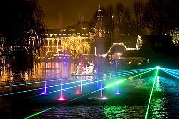 Illumination show at the Tivoli Lake in Copenhagen, Denmark, Europe