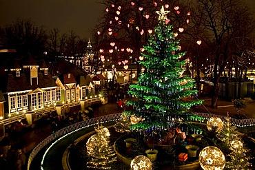 Christmas tree in Tivoli, Copenhagen, Denmark, Europe