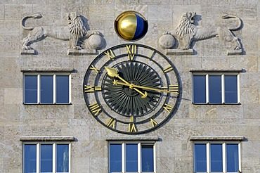 Clock and lion figures, Krochhochhaus high-rise building, Augustusplatz square, Leipzig, Saxony, Germany, Europe