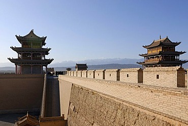 Jiayuguan fortress with two gatehouses at the western end of the Great Wall, Silk Road, Gansu, China, Asia