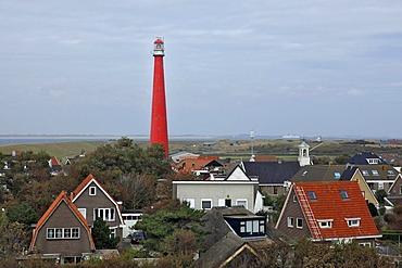 Residential houses, Lange Jaap Lighthouse, Kijkduin, Den Helder, province of North Holland, Netherlands, Europe