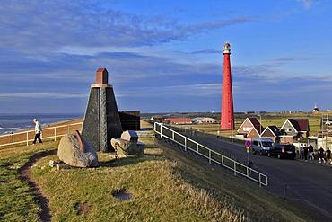 Dyke, dike top, sculpture, Lange Jaap Lighthouse, Kijkduin, Den Helder, North Sea, the province of North Holland, Netherlands, Netherlands, Europe