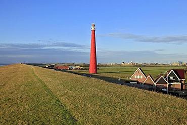Dyke, dike top, Lange Jaap Lighthouse, Kijkduin, Den Helder, North Sea, North Holland province, Netherlands, Netherlands, Europe