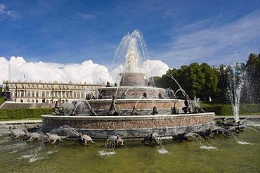 Latona Fountain, Palace Gardens, Herrenchiemsee Palace, Herreninsel, Gentleman's Island, Lake Chiemsee, Chiemgau, Upper Bavaria, Germany, Europe