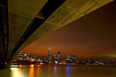 Skyline across the Swan River from under the Narrows Bridge, Perth, Western Australia, Australia