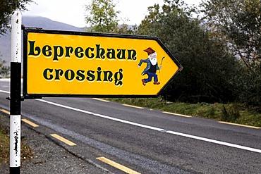 Leprechaun crossing, sign, Killarney National Park, County Kerry, Ireland, Europe
