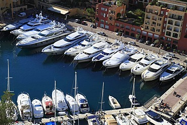 Port of Fontvieille, with luxury yachts, seen from the terrace in front of the Prince's Palace, Principality of Monaco, Cote d'Azur, Europe