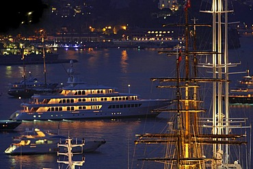 Yachts off Monaco during the Formula 1 Grand Prix at night, Principality of Monaco, Cote d'Azur, Europe