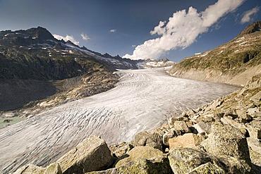Rhone Glacier in front of Tieralplistock, Dammastock and Galenstock Mountains, Furka Pass, Valais, Switzerland, Europe