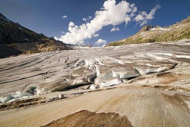 Rhone Glacier in front of Dammastock and Galenstock Mountains, Furka Pass, Valais, Switzerland, Europe