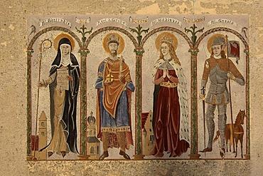 The Bussen saints, Saint Adelindis, Charlemagne, St. Hilgigard, St. Gerold, painting on a wall in Offingen, Landkreis Biberach district, Upper Swabia, Baden-Wuerttemberg, Germany, Europe