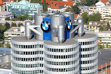 Headquarters of the BMW AG from the Olympic Tower in Munich, Bavaria, Germany, Europe