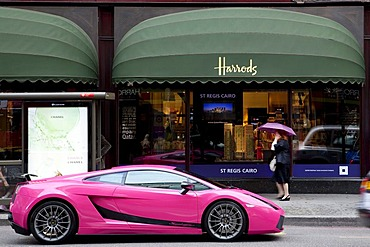 Lamborghini Gallardo Superleggera in front of the Harrods department store in London, England, United Kingdom, Europe