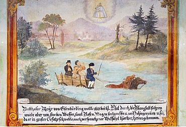 Ex voto votive, lime paint, representation of the miraculous rescue of a carriage from the waters of a river, 16th century, Tuntenhausen, Bavaria, Germany, Europe