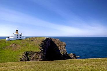 Lighthouse at the Point of Stoer on the Scottish Atlantic coast, Scotland, United Kingdom, Europe