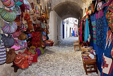 Typical old town street, Rhodes town, Rhodes island, Greece, northern part, Aegean Sea, Southern Europe, Europe