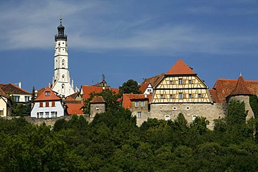 View of the city from the double bridge, historic Rothenburg ob der Tauber, Bavaria, Germany, Europe