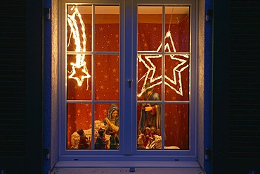Christmas windows decorated with a nativity scene, Gottlieben, Switzerland, Europe