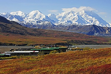 Mt McKinley, highest mountain of North America, view from the Eielson Visitor Center, Denali National Park, Alaska