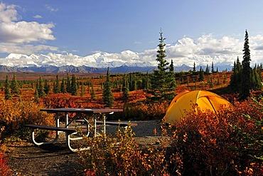 Camping on the Wonderlake Campground, Alaska Range, Mt McKinley in the back, Denali National Park, Alaska