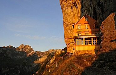 Aesher guest house at the Wildkirchli below the Ebenalp, Alpstein Mountains, Canton Appenzell, Switzerland, Europe