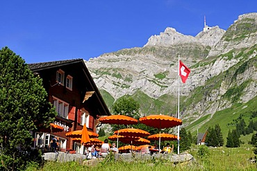 Restaurant on Schwaegalp Mountain in front of Saentis Mountain, the highest mountain in Alpstein Mountains, Canton of Appenzell, Switzerland, Europe