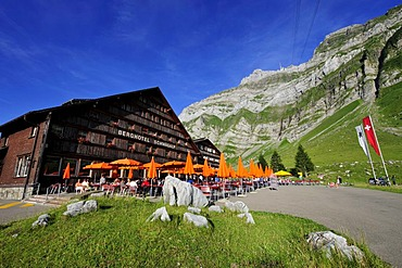 Berghotel Schwaegalp with cable car in front of Saentis Mountain, the highest mountain in Alpstein Mountains, Canton of Appenzell, Switzerland, Europe