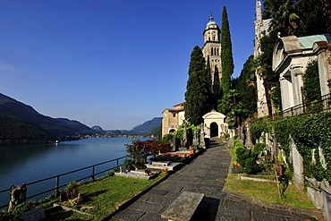 Church of Morcote situated on Lago di Lugano, Lake Lugano, Canton of Ticino, Switzerland, Europe