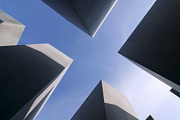 Memorial to the Murdered Jews of Europe or Holocaust Memorial, frog perspective, Berlin, Germany, Europe